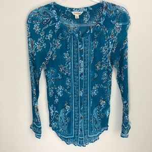 Lucky Brand Teal Floral Top S